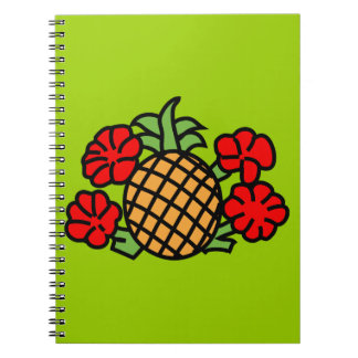 pineapple-303332 BRIGHT TROPICAL HIBISCUS HEALTHY Note Book
