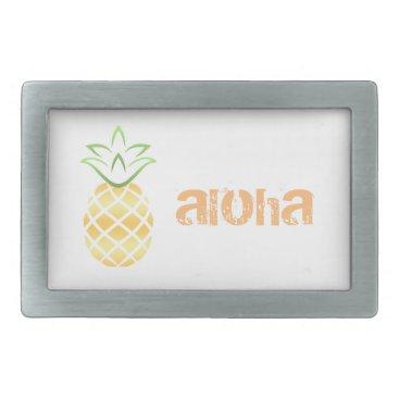 Beach Themed Pineapple Aloha Hawaii! Rectangular Belt Buckle