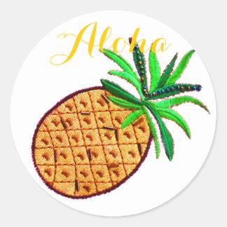 Pineapple Aloha Classic Round Sticker