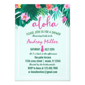 PINEAPPLE ALOHA tropical flower bridal shower Card