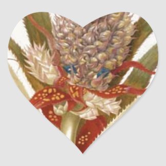 Pineapple and cockroaches by Maria Sibylla Merian Heart Sticker