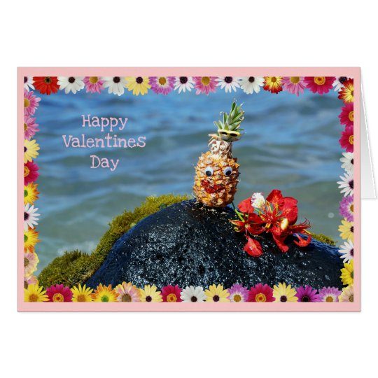 Pineapple and Flowers, Valentines Card