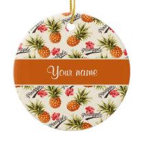 Pineapple and Hibiscus Ceramic Ornament