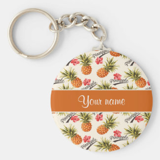Pineapple and Hibiscus Keychain