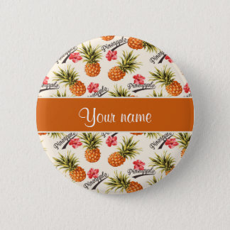 Pineapple and Hibiscus Pinback Button