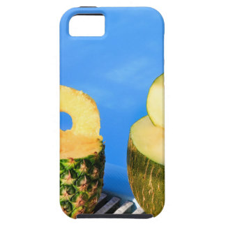 Pineapple and melon fruit with straws at pool iPhone SE/5/5s case