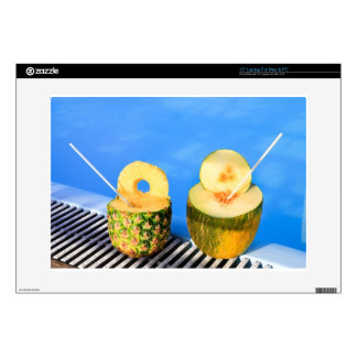 """Pineapple and melon fruit with straws at pool skin for 15"""" laptop"""