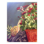 Pineapple And Red Flowers Print