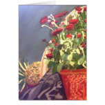 Pineapple and Red Flowers Still life Stationery Note Card