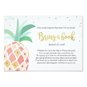 Toddler & Baby themed Pineapple Baby Shower Bring a Book Tropical Pink Card