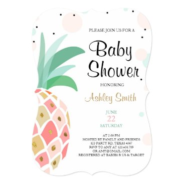Toddler & Baby themed Pineapple Baby shower invitation Tropical Bridal