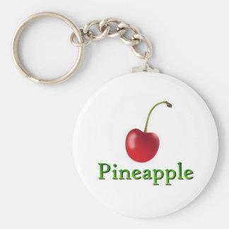 Pineapple Basic Round Button Keychain