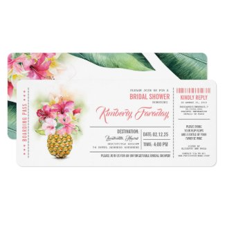 Pineapple Beach Boarding Pass Ticket Bridal Shower Invitation