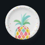 "Pineapple Birthday Paper Plates Tropical Luau Gold<br><div class=""desc"">♥ A perfect addition to your little one&#39;s birthday party! Pineapple birthday theme for a tropical luau party.</div>"
