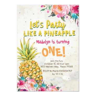 HappyPartyStudio Pineapple Birthday Party Invitation