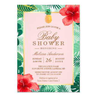 Pineapple Blush Pink Tropical Baby Shower Card