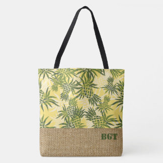 Pineapple Camo Monogram Hawaiian Beach Bag