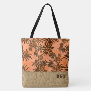 Beach Themed Pineapple Camo Monogram Hawaiian Beach Bag