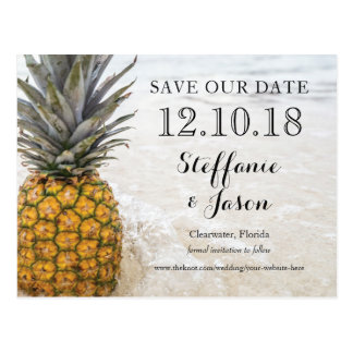 Pineapple Chillin on the Sandy Beach Save the Date Postcard