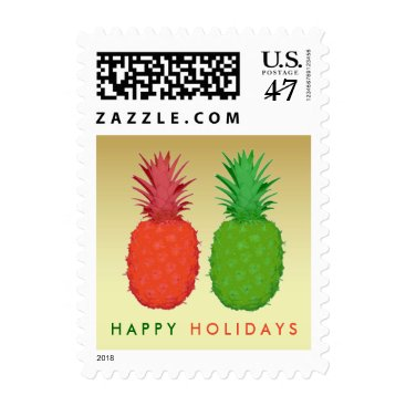 Christmas Themed Pineapple Christmas in Red and Green on Gold Postage