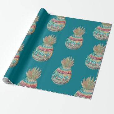 Christmas Themed Pineapple Christmas Wrapping Aqua Wrapping Paper