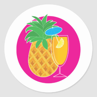 Pineapple Cocktail Classic Round Sticker