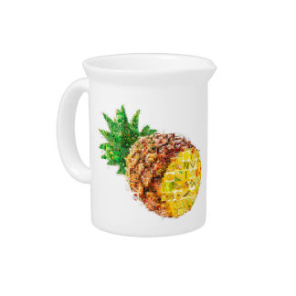 Pineapple collage - pineapple art - collage art beverage pitcher