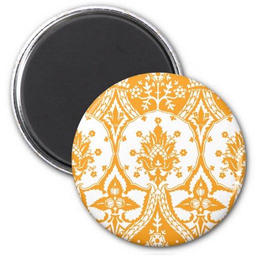 Pineapple Damask Orange 2 Inch Round Magnet
