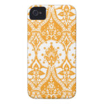 Pineapple Damask Orange iPhone 4 Case-Mate Cases