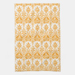 Pineapple Damask Orange Kitchen Towels