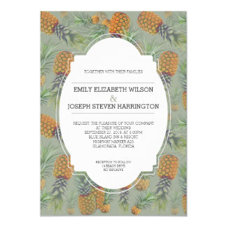 Pineapple Design Sage Green Wedding Card