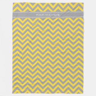 Pineapple Dk Gray LG Chevron Dk Gray Name Monogram Fleece Blanket