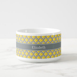 Pineapple Dk Gray Moroccan #5DS Char Name Monogram Bowl