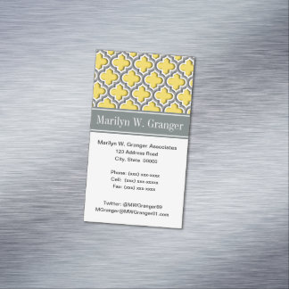 Pineapple Dk Gray Moroccan #5DS Char Name Monogram Business Card Magnet