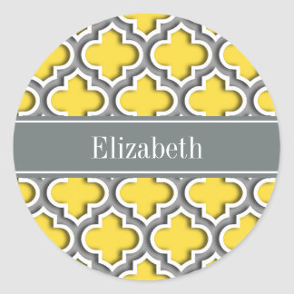 Pineapple Dk Gray Moroccan #5DS Char Name Monogram Classic Round Sticker