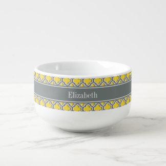 Pineapple Dk Gray Moroccan #5DS Char Name Monogram Soup Mug