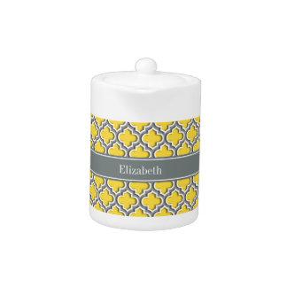 Pineapple Dk Gray Moroccan #5DS Char Name Monogram Teapot