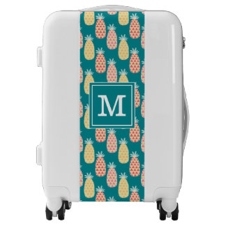 Pineapple Doodle Pattern | Add Your Initial Luggage
