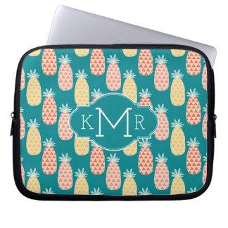 Pineapple Doodle Pattern   Monogram Laptop Sleeve