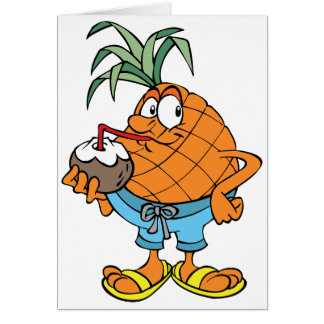 Pineapple Drinking Coconut Milk Note Cards