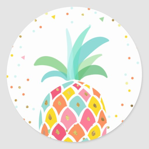 Pineapple Envelope seal sticker Tropical Pink Gold