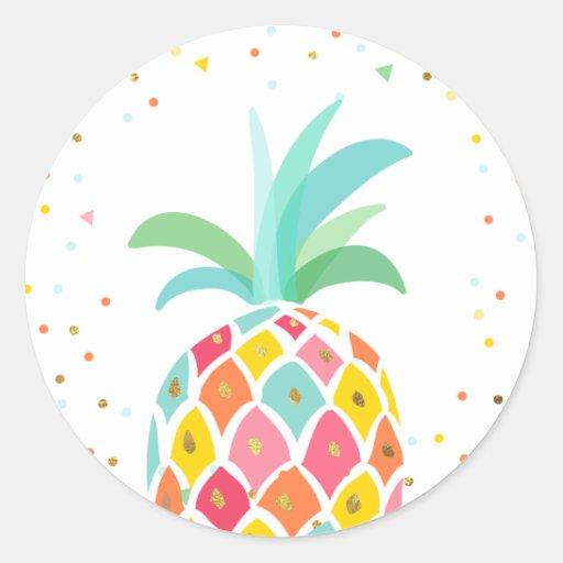 Pineapple Envelope seal sticker Tropical Pink Gold