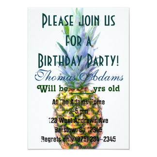 Pineapple Fruit Beach Dessert Colorful Tropical Invitations