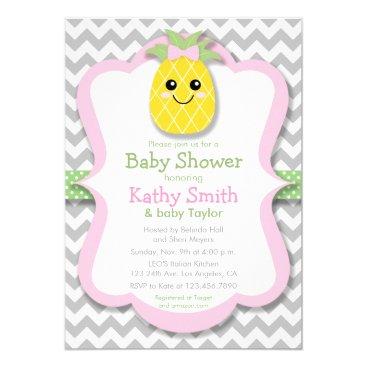 Toddler & Baby themed Pineapple Girl Baby Shower Invitations