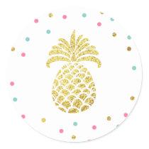 Pineapple gold Envelope seal sticker Tropical