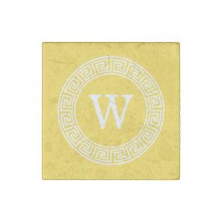 Pineapple Greek Key Rnd Frame Initial Monogram Stone Magnet