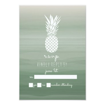 Pineapple Green Watercolor Ombre Inspired RSVP Card