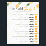 "Pineapple he said she said bridal shower game letterhead<br><div class=""desc"">Pineapple he said she said bridal baby shower game.  Type your own custom quotes in!</div>"