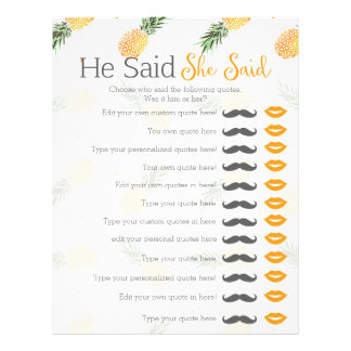 Pineapple he said she said bridal shower game letterhead