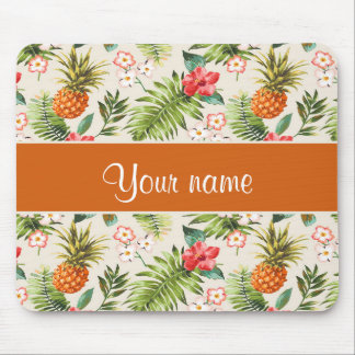 Pineapple Hibiscus and Palm Fronds Mouse Pad